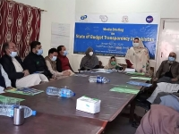 Yasmeen-Gul-Director-Awami-Welfare-Society-sharing-the-importance-of-budget-transparency-during-the-media-briefing-on-the-state-of-budget-transparency-report-in-district-Swat