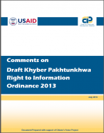 Comments on Draft Khyber Pakhtunkhwa Right to Information Ordinance 2013