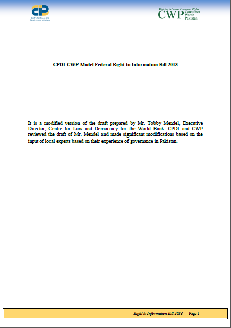 CPDI-CWP Model Federal Right to Information Bill