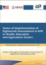 Status of Implementation of Eighteenth Amendment in KP in Health,Education and Agriculture Sector