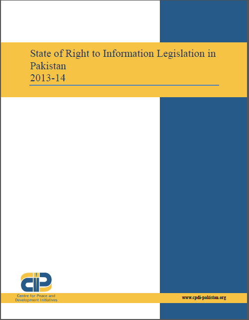 State of Right to Information Legislation in Pakistan 2013-14