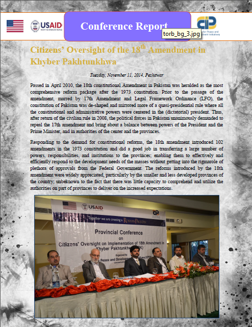 Citizens' Oversight of 18th Amendment in Khyber Pakhtunkhwa(Conference Report-2014)