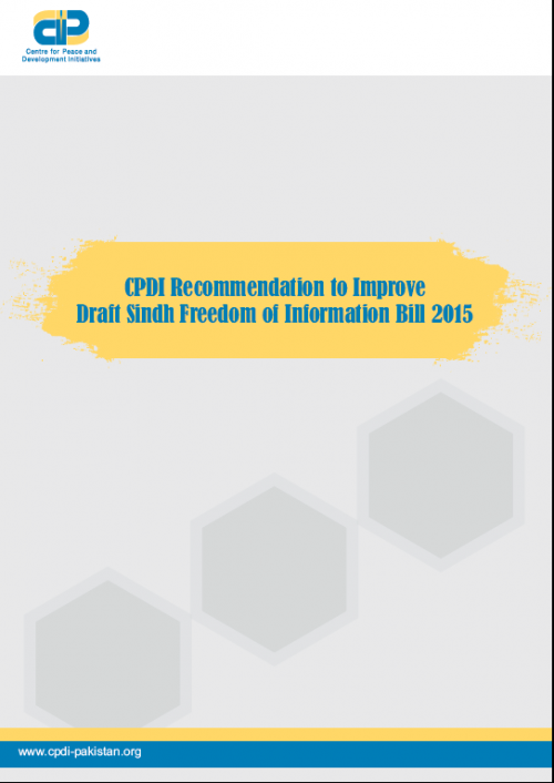 CPDI Recommendation to Improve Draft Sindh Freedom of Information Bill 2015