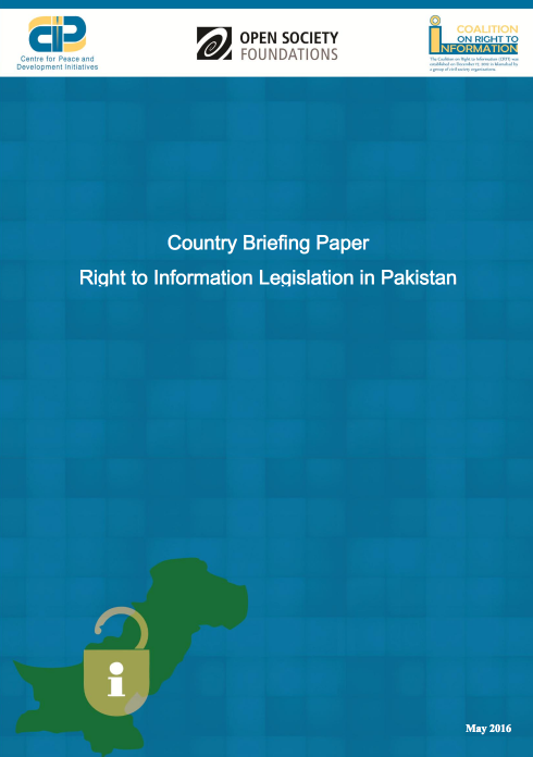 Country Briefing Paper Right to Information Legislation in Pakistan