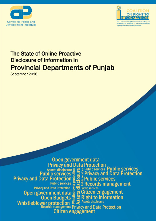 State of Online Proactive Disclosure of Information in Provincial Departments of Punjab