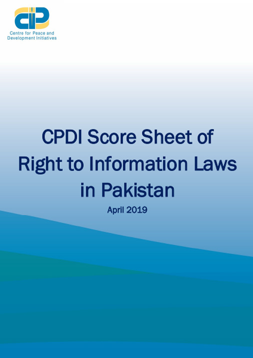 CPDI Scoresheet of RTI Laws in Pakistan - 2019