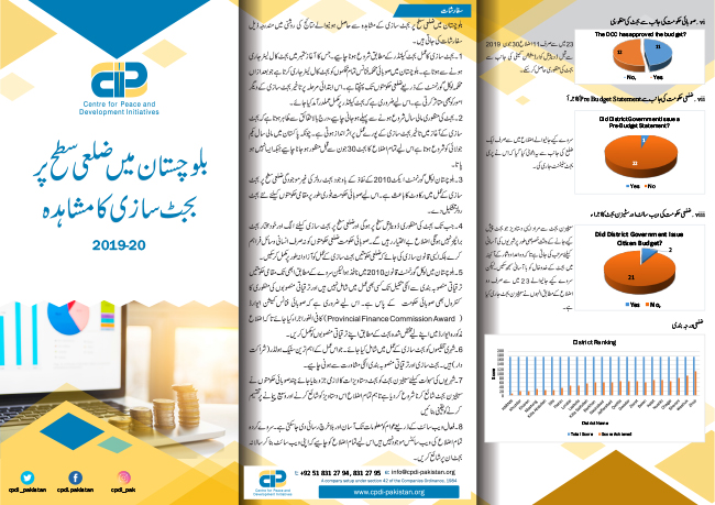 Findings of Study on Budget Making Process at District Level in Balochistan 2019